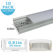 inShareplus 10Pack 3.3FT/1M LED Aluminium Channel System U Shape Track with Oyster White Cover, End Caps and Mounting Clips for 0.78in(20mm) 3528 5050 LED Strip Light Installation