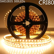 LightingWill LED Strip Lights IP67 Waterproof CRI80 SMD2835 16.4Ft(5M) 300LEDs Warm White 3000K-3500K 60LEDs/M DC12V 60W 12W/M 8mm White PCB Flexible Ribbon Strip with Adhesive Tape M2835WW300W