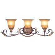 Livex Lighting 8553-63 Villa Verona 3 Light Verona Bronze Finish Vanity Bath with Aged Gold Leaf Accents and Rustic Art Glass