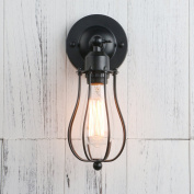 Permo Industrial Vintage Metal Wire Cage Wall Sconce Lighting Fixture Ceiling Mount Light