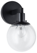 Sferra Wall Light Sconce with LED Edison Bulb Included. Black with Globe Glass Shade. Modern Industrial Factory Style. UL Listed, Linea di Liara LL-SC225-BLK