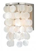 Vaxcel W0153 Elsa Capiz Shell Wall Light, 20cm , Satin Nickel Finish