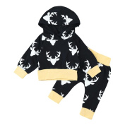 2pcs Toddler Boy Girl Clothes Set Anter Infant Baby Outfits for Christmas Hoodie Tops+Pants by Keepfit