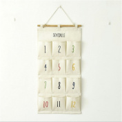 ShungHO Large Capacity Linen Fabric Wall Closet Door Hanging Storage Bag Case Space Saving Storage Pouches 12 Pockets