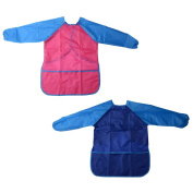 XCSOURCE 2pcs Child's Paint Apron Kids Craft Smock Waterproof Long Sleeve Apron for Painting Drawing Cooking Eating 1pc Blue and 1pc Red TH680