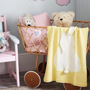 Dulcii Children's Lovely 3D Rabbit Ear Jacquard knitted Blanket Cute and Warm Sofa Towel with Bunny Ears - Yellow