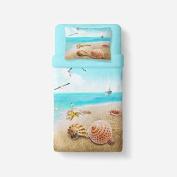 Mangogo 3D Lovely Beach Style Kids 2PC Duvet Cover Set Soft Microfiber Colourful Sky Blue Twin Size