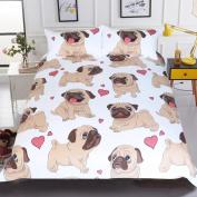 Sleepwish Pug Duvet Cover Cartoon Cute Pug Love Hearts Bedding 3D Reversible Boys Girls Pretty Duvet Cover