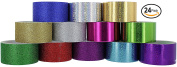 RamPro Glitter & Holographic Styles Heavy-Duty Duct Tape | Assorted Colours Pack of 24 Rolls, 4.8cm x 10 Yard.