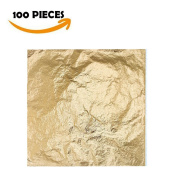 Bullet Face 100 Sheets 14cm by 14cm Imitation Gold Leaf Foil Paper for Arts, Gilding Crafting, Decoration DIY