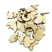 MonkeyJack 50 Pieces MDF Wooden Tags Halloween Decoration Craft Blank Pumpkin Bat Ghost Wine Decor Party