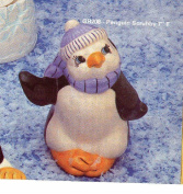 Penguin Scrubby Holder Christmas Kitchen Decor - Ready to Paint Ceramic Bisque - Hand Poured in the USA