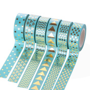 JoinPro 6 Pack Decorative Washi Tape Set Bright Foil Gold Tapes Decoration for Gift Wrapping Party Supplies Scrapbook and DIY Crafts,1.2cmx10m