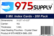975 Supply - Index Card Laminating Pouches - 5 Mil - 7.6cm - 1.3cm x 13cm - 1.3cm - 200 Pouches