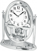 Rhythm Mantel Clock with Pendulum & Acrylic Decoration Silv