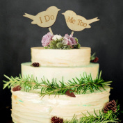 Veewon Wedding Cake Toppers I DO ME TOO Love Birds Wooden Cake Topper Wedding Engagement Decor Favour