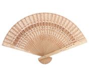 Gemini_mall® Vintage Flower Pattern Hollow Out Folding Wooden Hand Fan Gift 20cm