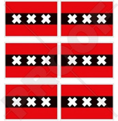 "AMSTERDAM Flag Netherlands, Nederland Dutch Flag 40mm (1,6"") Mobile, Cell Phone Vinyl Mini Stickers, Decals x6"