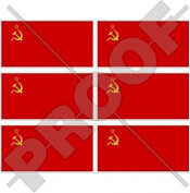 """SOVIET UNION Flag USSR Communist Russia 40mm (1,6"""") Mobile Cell Phone Vinyl Mini Stickers, Decals x6"""