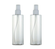 2PCS 300ml Refillable Flat Shoulder Spray Bottles-Portable Plastic Cosmetic Makeup Atomizer Spray Bottle Storage Container