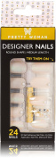 3D Pretty Woman 24 Artificial Nail Kit Nude Nails with Iridescent Shimmer and Gold Accents