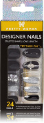 3D Pretty Woman 24 Artificial Nail Kit Black and Silver Nails with Jewel Accents & Spikes