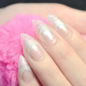 CoolNail 24pcs Shinning Glitter French Stiletto False Nails Tips Clear with Bullion White Colourful Glitter Sharp Party Nail Decoration