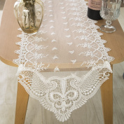 Wedding Linens Inc. 30cm x 270cm Lace Jasmine Raschel Table Runners Embroidered Table Runner for Wedding Decoration Events Banquet Party Supplies - White