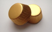50 pcs Metallic Gold Aluminium Foil Standard Size Cupcake Liners for Special Occasions Wedding