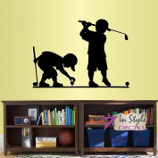 Wall Vinyl Decal Home Decor Art Sticker Little Boys Playing Golf Sport Kids Bedroom Nursery Room Removable Stylish Mural Unique Design 2312