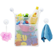Bondream Kids Bath Toy Organiser Caddy Storage Large Quick Dry Mesh Net Bag-Bonus 3 Pockets+Bonus 4 Strong Suction Cup ,Multi-functional holder for Towels,Shampoos,Tools,Gadgets