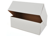 25cm Length x 17cm Width x 8.9cm Height White Kraft Paperboard Auto-Popup 1-Piece Donut Bakery Box by MT Products