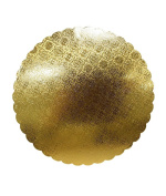 Cake Board -- Thick Strong Compact Heavyweight Non-Corrugated Cardboard -- Scalloped Round with White Bottom and Embossed Gold-Foil Top