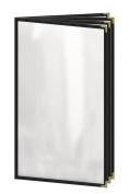 Risch TEDD 8.5X14 DS #04 Deluxe Sewn Menu Cover, Café Style, 8 View Bookler, 22cm x 36cm , Black Leatherette Trim