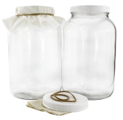 Two 3.8l Glass Kombucha Jars w/ Cotton Cloth Covers & Plastic Lids for Storage after Brewing
