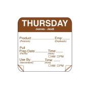 DayMark 115151-4 ToughMark 5.1cm Thursday Use By Day Square - 500 / RL