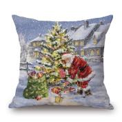 ✿Moseâ . !Merry Christmas Christmas Snow Series Square Pillow Cases Linen Sofa Cushion Cover Home Decor Pillow Core