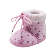 Honhui Newborn Christmas Baby Winter Snow Print Soft Sole Cotton Boots Prewalker Warm Casual Shoes (13