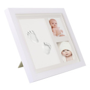 Pretty See Baby Handprint and Footprint Frame Baby Memorial Keepsakes Photo Frame with Premium Clays and Wood Frame, Room Wall or Table Decor, White