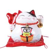 11cm Maneki Neko Japanese Porcelain Lucky Cat Money Box Piggy Bank Lucky Blessing #B