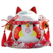 20cm Maneki Neko Japanese Porcelain Lucky Cat Money Box Piggy Bank Lucky Blessing #C