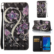 Galaxy J3 Case,Galaxy Amp Prime Case,Galaxy Express Prime Case,ARSUE PU Leather Wallet Protective Case Cover with Kickstand and Card Slot for Samsung Galaxy J3 (2016) / Galaxy J3 V