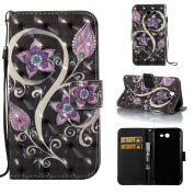 For Samsung Galaxy J3 Emerge / J3 2017 / J3 Prime / J3 Eclipse / Amp Prime 2 / Express Prime 2 Case,ARSUE PU Leather Wallet Flip Protective Case Cover with Kickstand and Card Slot