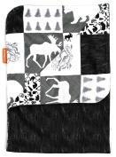 Dear Baby Gear Deluxe Baby Blankets, Minky Print Reversible Mountains, Moose, Bear, Woodgrain Faux Quilt, 100cm by 70cm