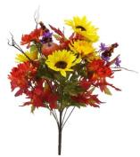 Renaissance 2000 Decorative Sunflower with Mum Mix Bush, 60cm , Flame Yellow