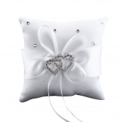Ehonestbuy Double Heart Rhinestone Wedding Ring Bearer Pillow 20cm x 20cm