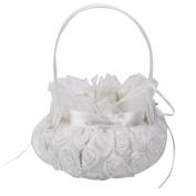 SHZONS Embroidered Wedding Flower Girl Basket Bridal Basket Petal Basket Lace Bowknot for Wedding Ceremony Party
