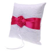 Jili Online Satin Flower Lace Wedding Ring Pillow Party Ring Bearer Cushion Ring Holder - Rose Red