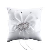 TRENTON Lovely Decor Bridal Wedding Ceramony Pocket Ring Pillow Cushion Bearer with Ribbons - White