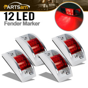 Partsam 4x Red Sealed Chrome Armoured LED Trailer Clearance and Side Marker Light 12 LED